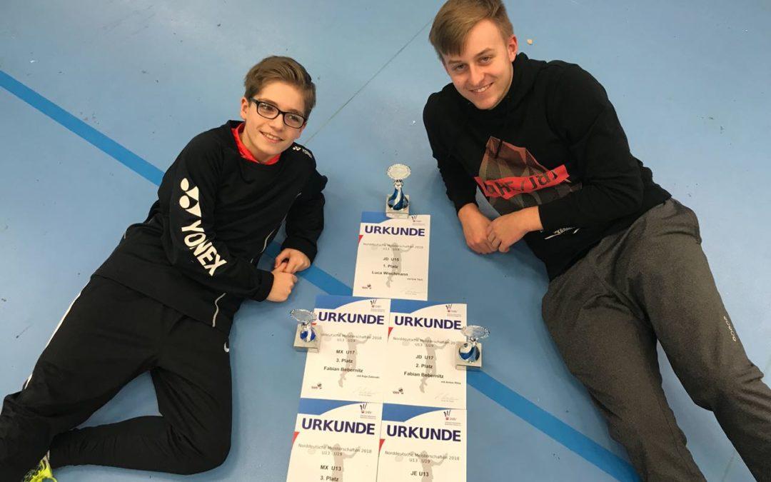 Norddeutsche Meisterschaften U13-U19: Fünf Podesplätze durch Luca und Fabian